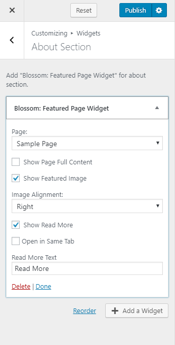 Configure featured widget blossom spa pro