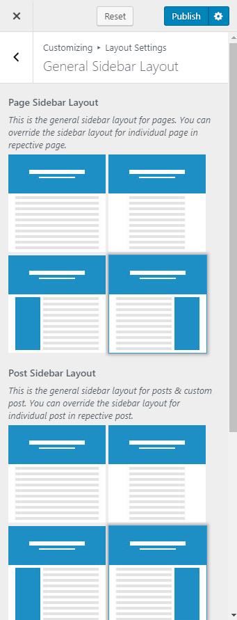Configure general sidebar layout