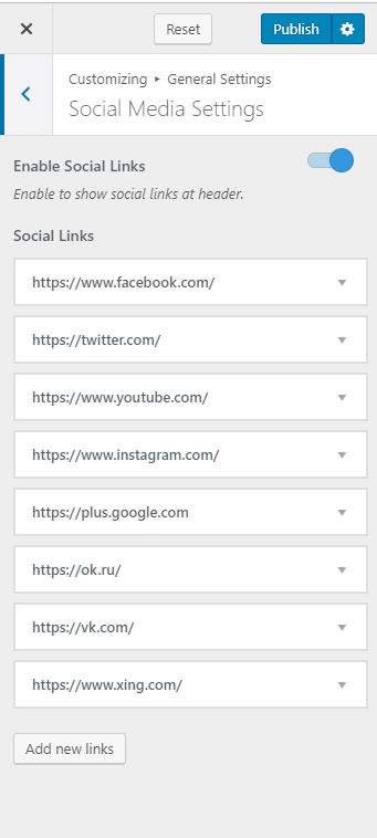 Configure social media setting