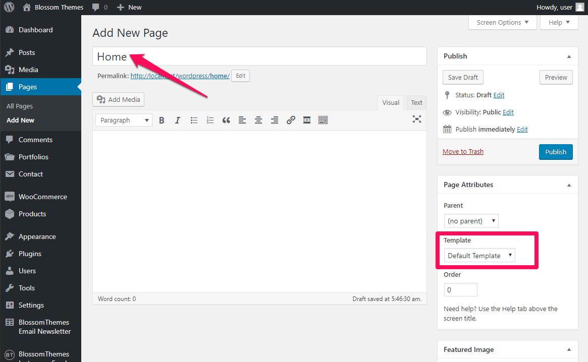 Create homepage blossom spa pro