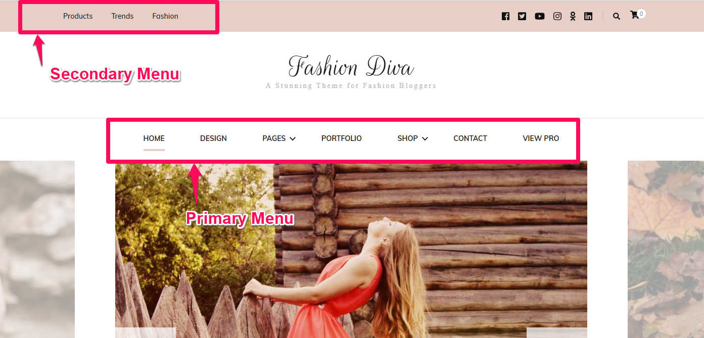Fashion Diva menu