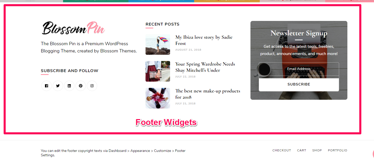 Footer widgets demo blossom pin pro
