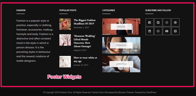 Footer widgets demo fashion diva