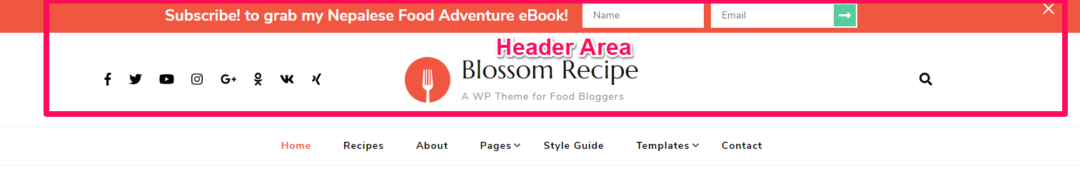 Header items blossom recipe pro