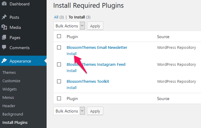 Install now recommended plugins