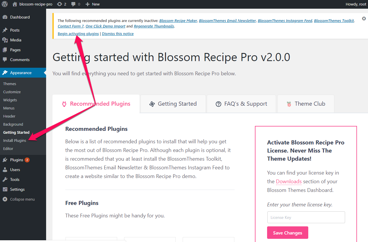 Install recommended plugins Blossom Recipe pro