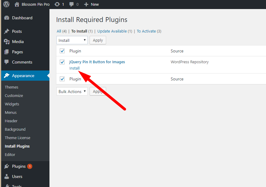 Install recommended plugins blossom pin pro