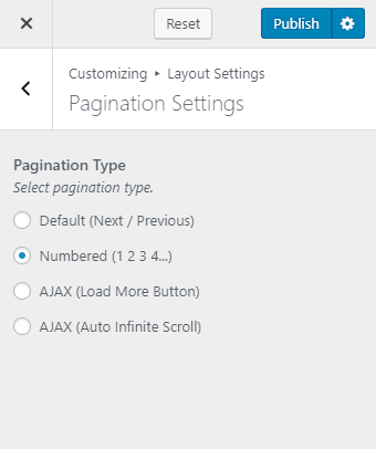 Pagination settings blossom pin pro
