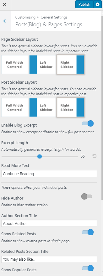 Posts blog settings