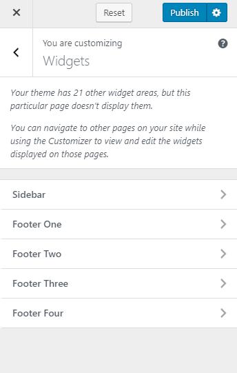 Select the widget area