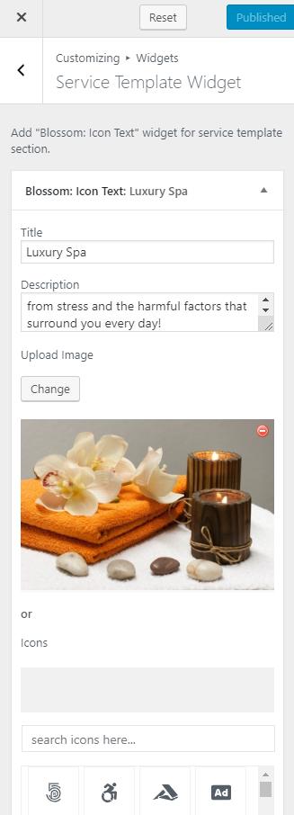 Service template widget