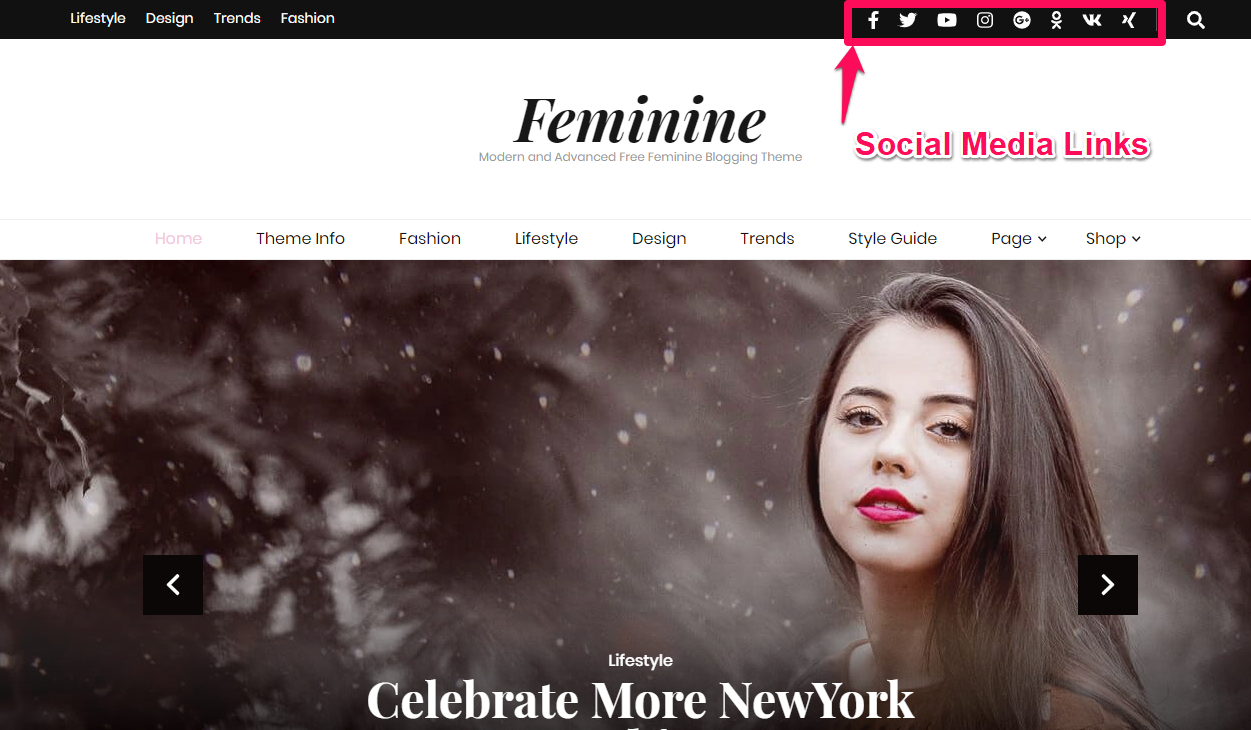 Social media links demo blossom feminine