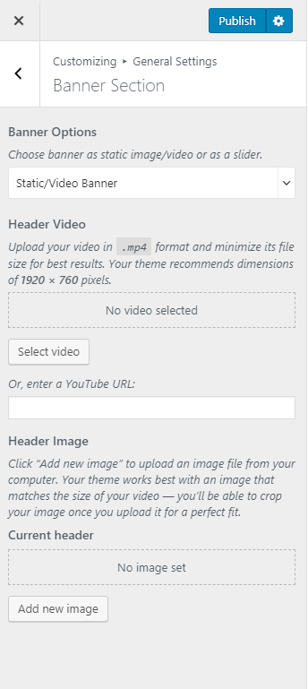 Static or video slider