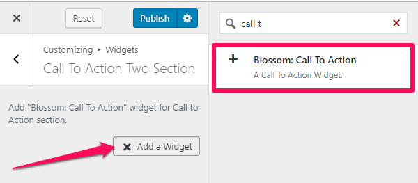 blossom call to action widget