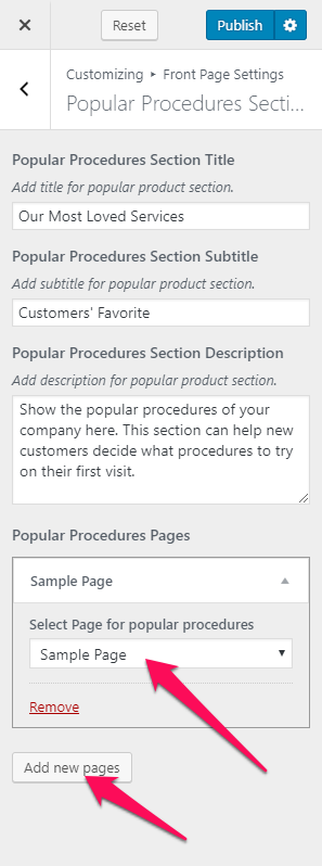 configure popular procedure section blossom spa pro