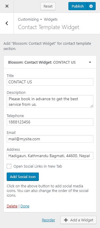 contact template widget