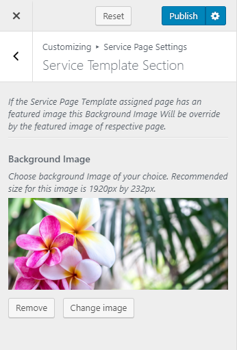 service template section