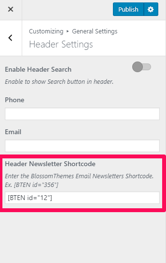 Configure Header newsletter