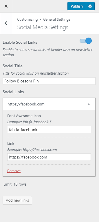 Configure Social Media icons in header blossom pinit