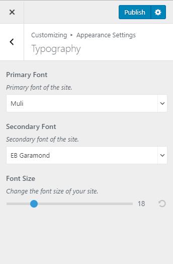 Configure font size blossom pinit