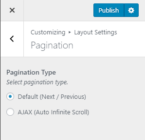 Configure pagination settings