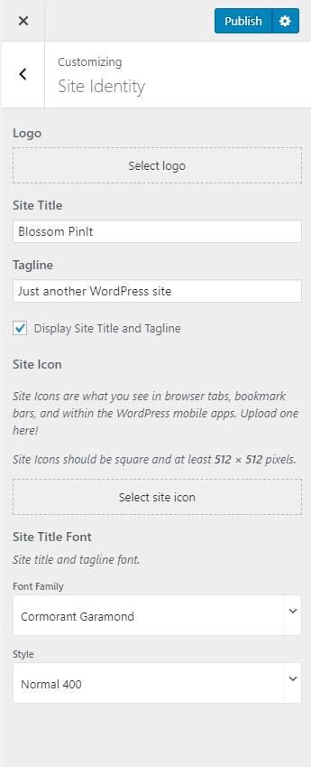 Configure site identity blossom pinit