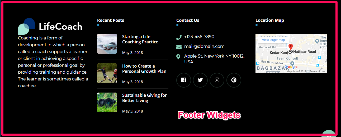 Footer widgets demo life coach