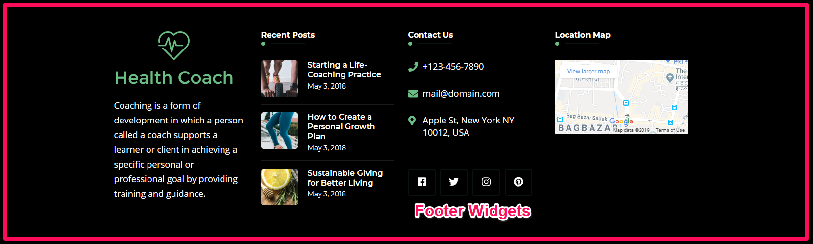 Footer Widgets demo blossom health coach