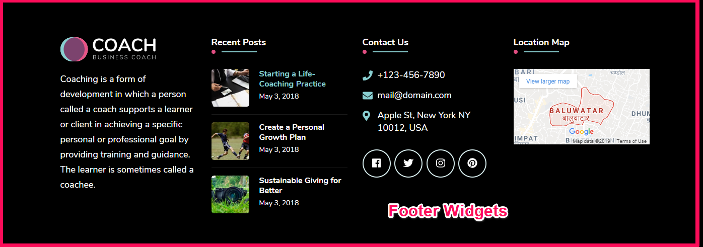 Footer widget demo blossom coach