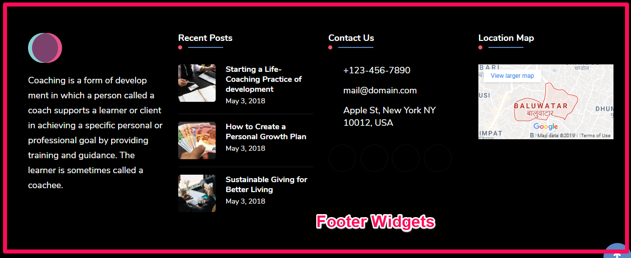 Footer widgets demo blossom consulting