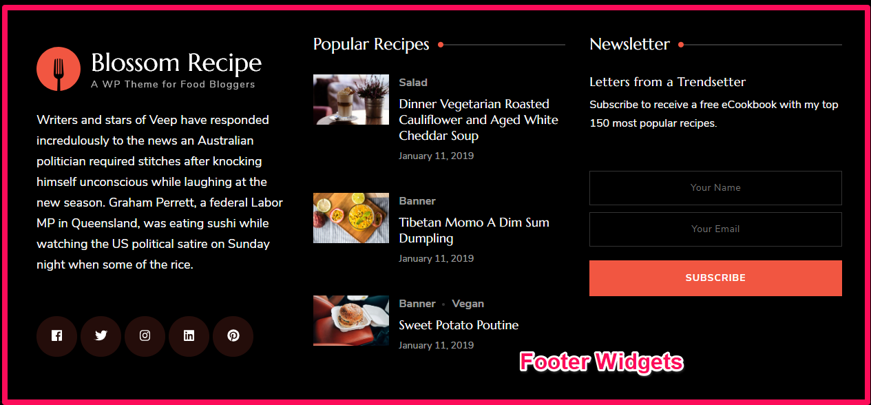 Footer widgets demo blossom recipe