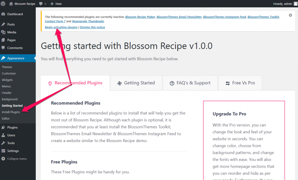 Install recommended plugins blossom recipe