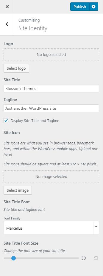 Configure site identity blossom spa