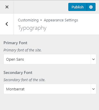 Configure typography settings blossom themes