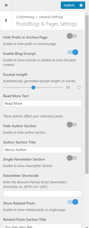 Single post and page settings blossom recipe