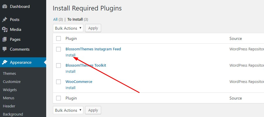 Install recommended plugins blossom coach