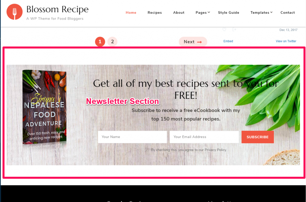 Newsletter Section demo blossom recipe