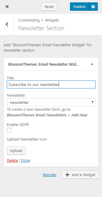 Configure newsletter settings blossom recipe
