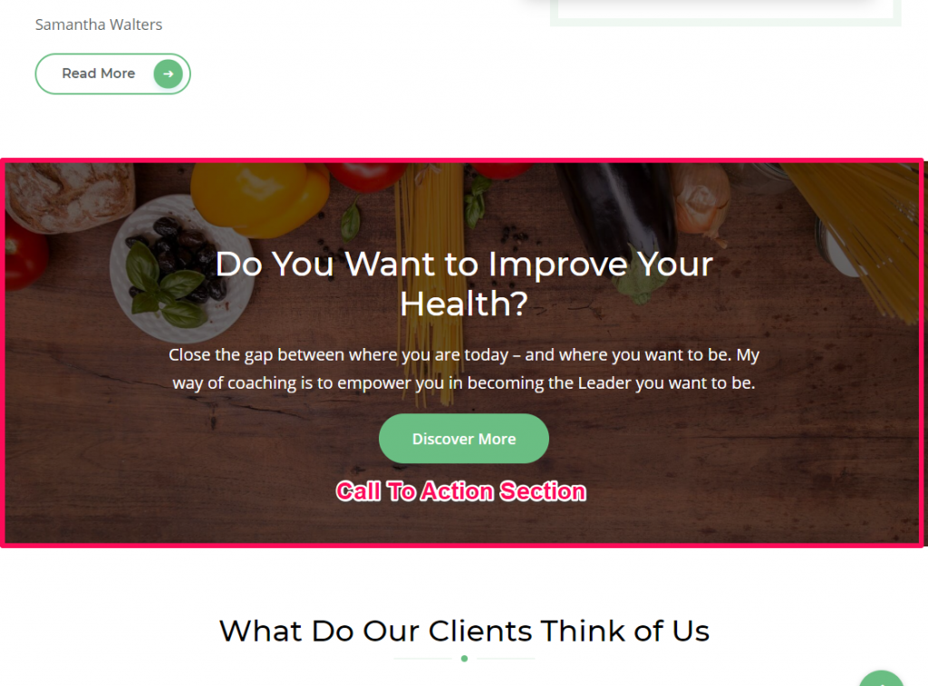 Call to action section demo blossom health coach