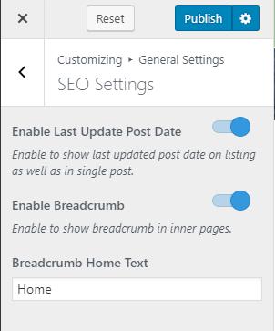 Configure seo settings blossom spa