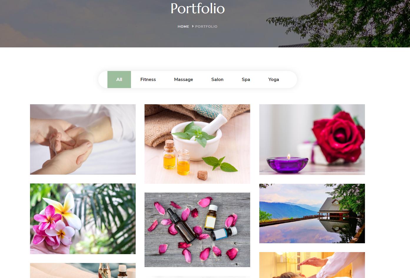 Portfolio page demo blossom spa