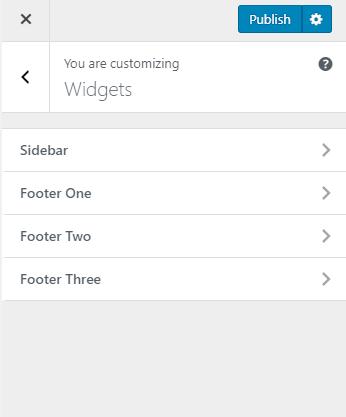 Select Footer widgets