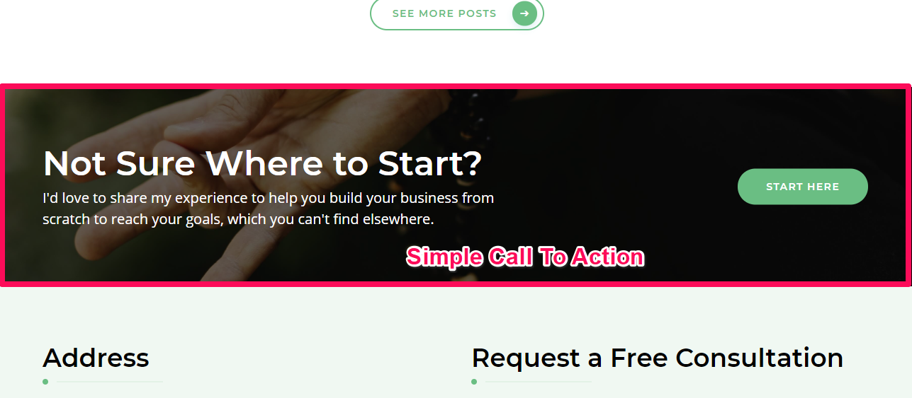Simple call to action section demo blossom health coach