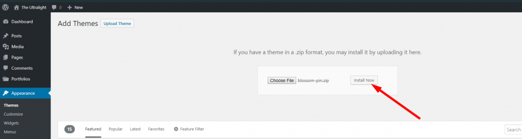 upload new theme blossom pin