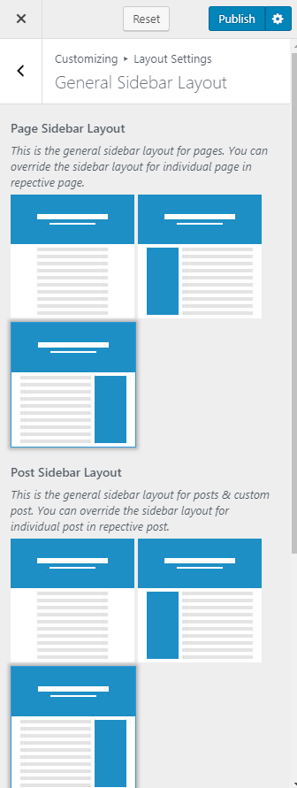 configure general sidebar layout blossom pin