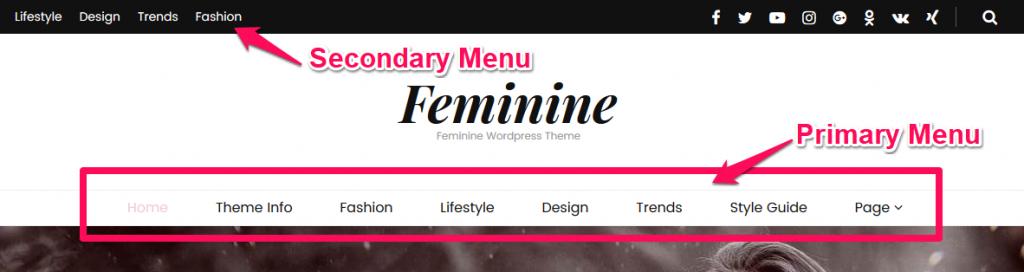 Navigation menu demo blossom pretty