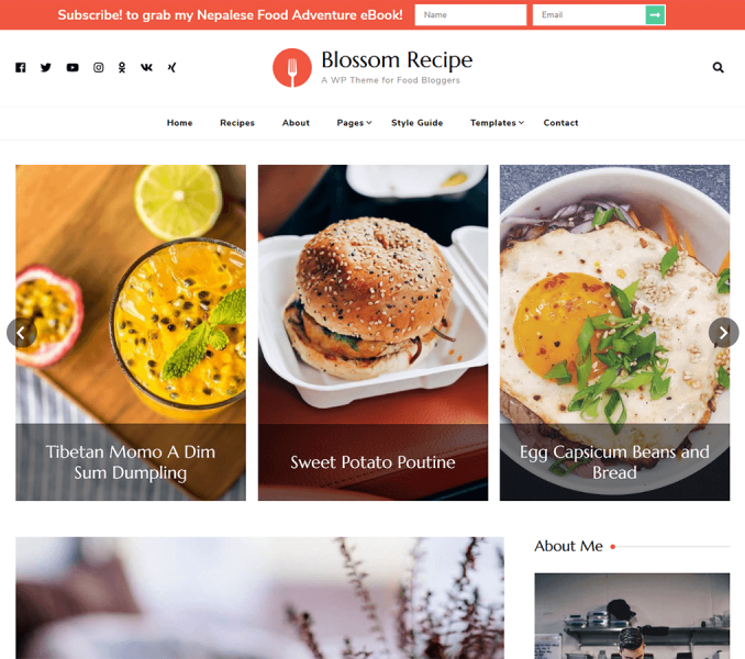 Blossom Recipe Free theme documentation