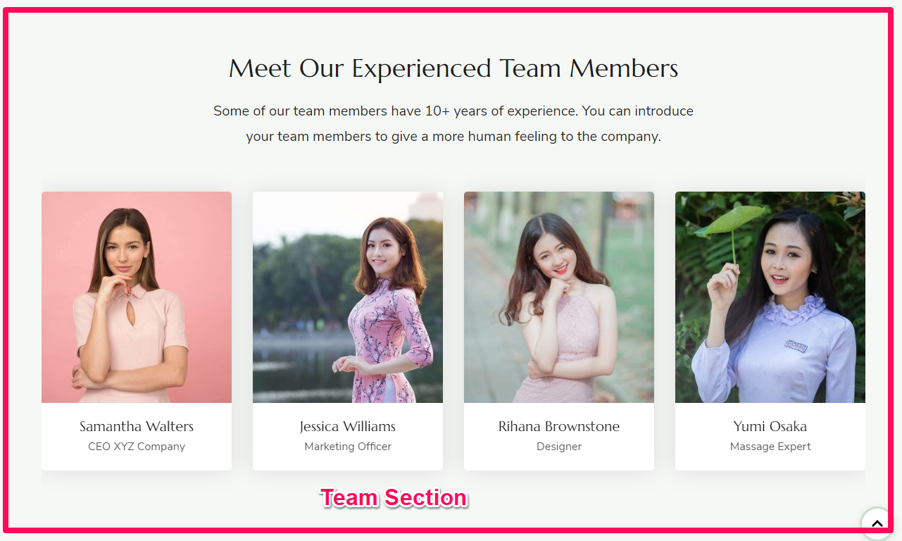 Enter the Name, Designation and Description of the team member. Upload an image of the person Enter the social media link of the member Add more team member in similar manner Click on Done Click on Publish