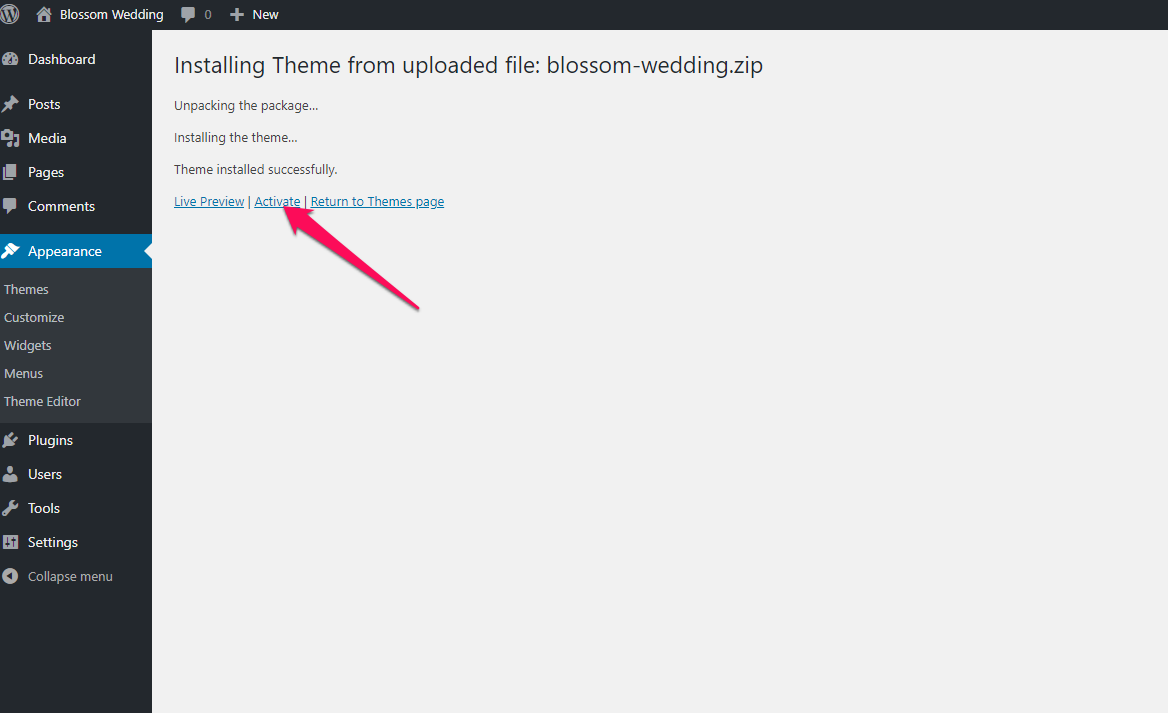 Activate blossom wedding theme