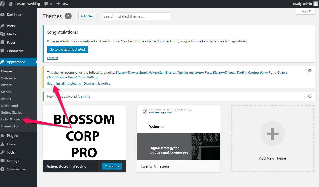 Blossom Wedding Recommended plugins